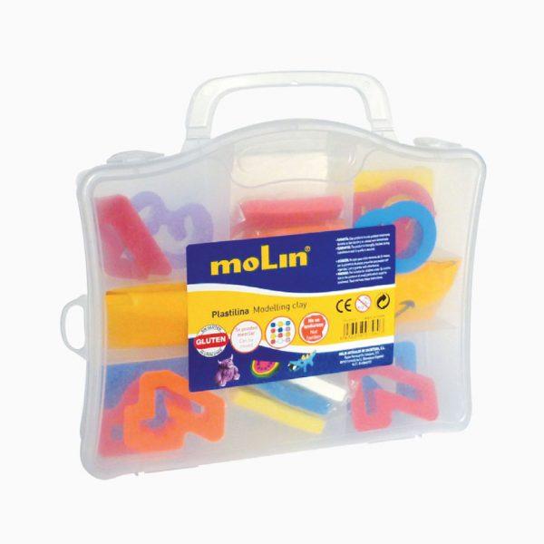 Caixa de plástico com 19 acessórios para plasticina Molin