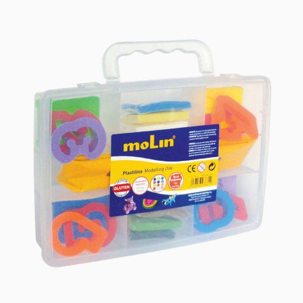 Caixa de plástico com 24 acessórios para plasticina Molin
